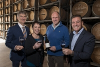 Wine Victoria Chair Damien Sheehan, Minister for Agriculture The Hon. Jaala Pulford, Scotchman's Hill Chief Winemaker Robin Brockett, Minister for Tourism, The Hon. John Eren