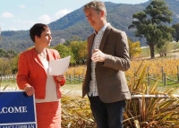 The Hon Jaala Pulford, Minister for Agriculture and Regional Development; Damien Sheehan, Wine Victoria Chair, at Mount Langi Ghiran Winery in the Grampians